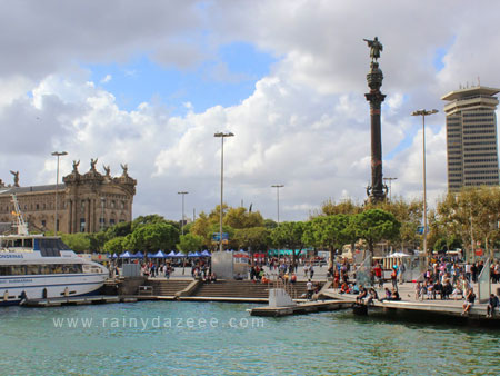 Port Vell (with Columbus Monument) in Barcelona, Spain
