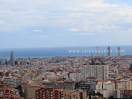 Barcelona skyline as seen from from Park Guell